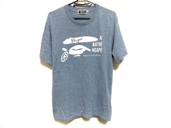 ア ベイシング エイプ 半袖Tシャツ サイズL メンズ美品  ライトブルー×白