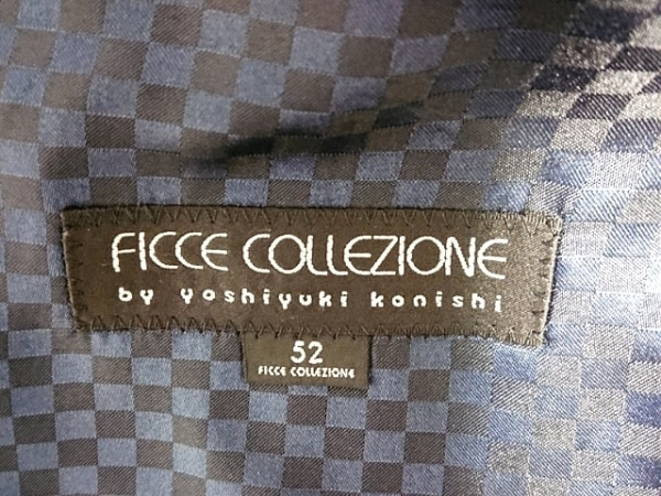 ヨシユキコニシ ジャケット サイズ52 メンズ美品  黒×ダークネイビー ストライプ