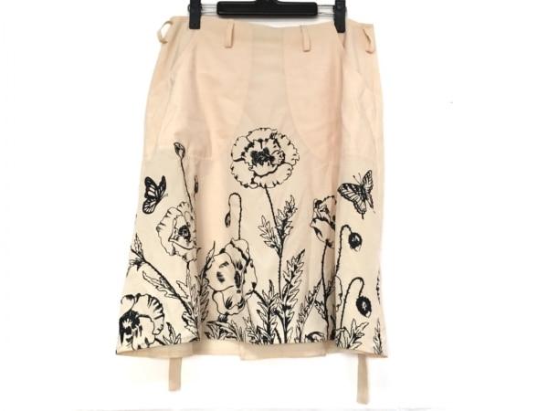 BLUMARINE(ブルマリン) 巻きスカート サイズI42D36 レディース美品  ピンク×黒 花柄