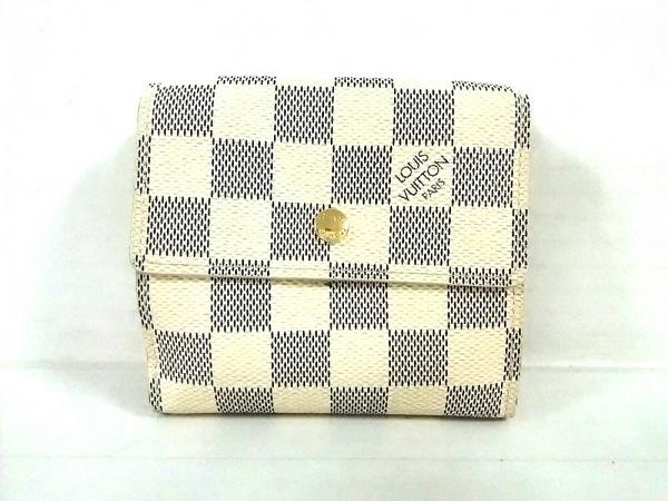 ルイヴィトン Wホック財布 ダミエ美品  ポルトフォイユ・エリーズ N61733 アズール