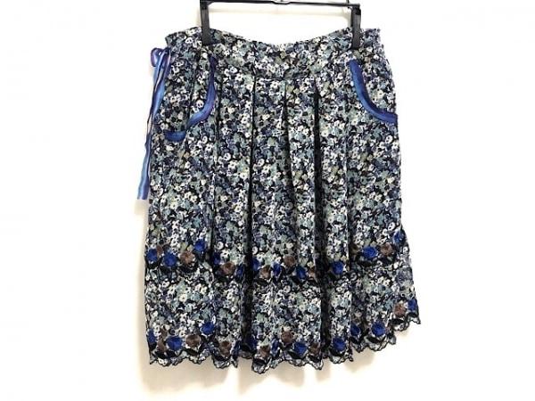 アナスイ ミニスカート サイズ2 S レディース美品  ブルー×ブラウン×マルチ