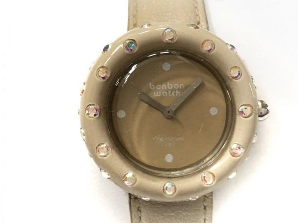 BONBONWATCH(ボンボンウォッチ) 腕時計 - レディース 裏スケ/ラインストーン ベージュ