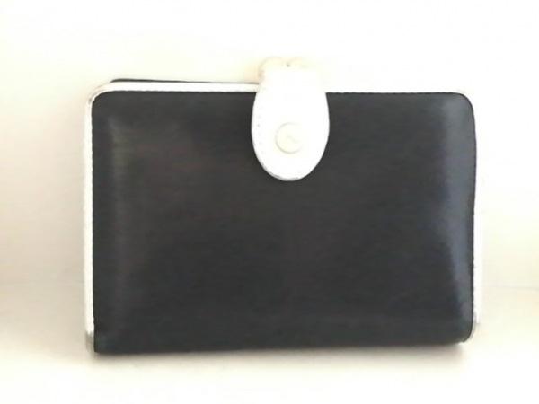 KITAMURA(キタムラ) 2つ折り財布 黒×白 がま口 レザー