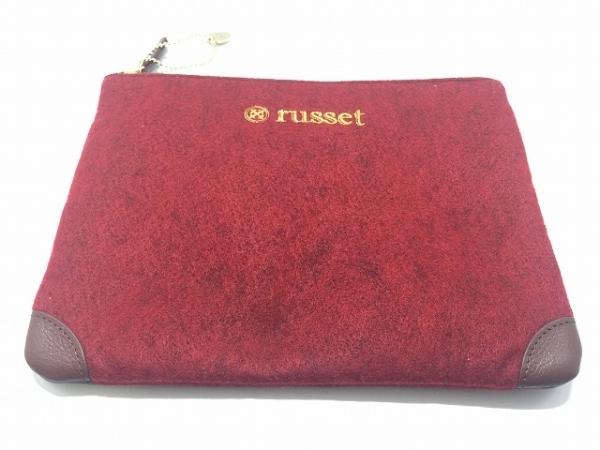 russet(ラシット) ポーチ美品  レッド×ダークブラウン ウール×レザー