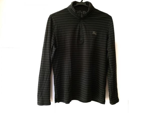 バーバリーゴルフ 長袖カットソー サイズ2 M メンズ 黒×グレー ボーダー/ハイネック