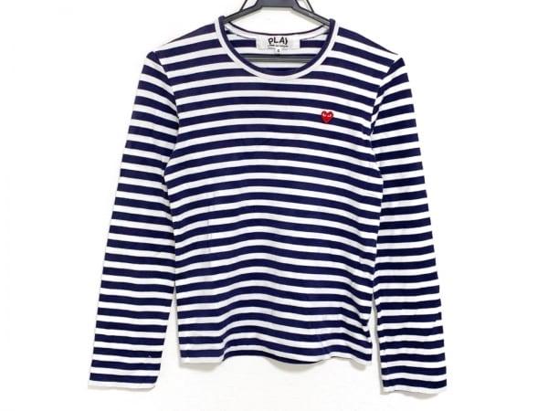 プレイコムデギャルソン 長袖Tシャツ サイズS レディース 白×ネイビー