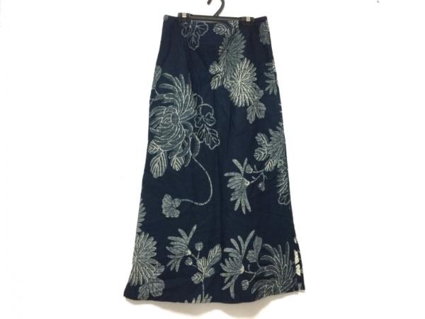 パラスパレス ロングスカート サイズ2 M レディース ネイビー×アイボリー 花柄