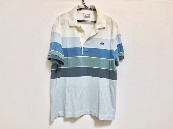 ラコステ 半袖ポロシャツ サイズ3 L レディース ライトブルー×ブルー×マルチ