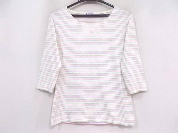 フクゾー 七分袖Tシャツ サイズM レディース美品  アイボリー×ピンク×マルチ