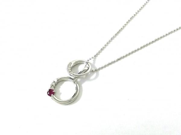 ノーブランド ネックレス美品  K18WG×ダイヤモンド×カラーストーン クリア×ピンク