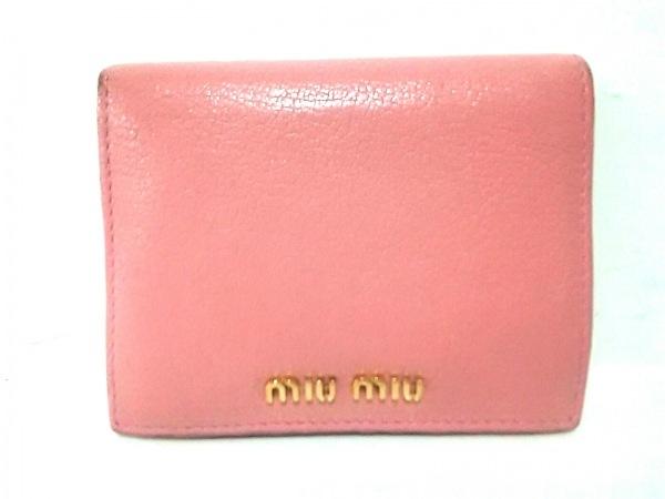 miumiu(ミュウミュウ) 2つ折り財布美品  - 5MV204 ピンク×ゴールド レザー