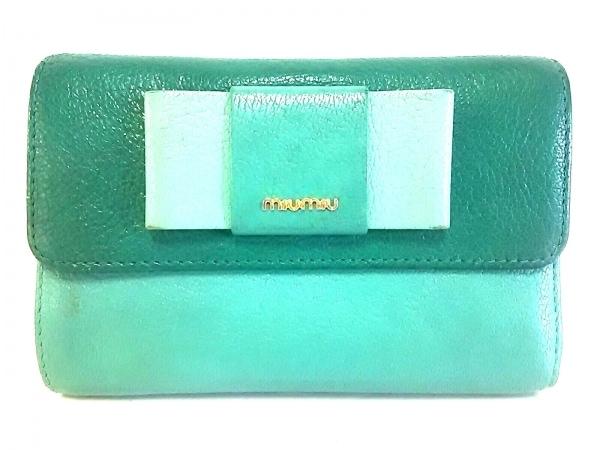 ミュウミュウ 3つ折り財布美品  - ダークグリーン×ライトグリーン リボン レザー