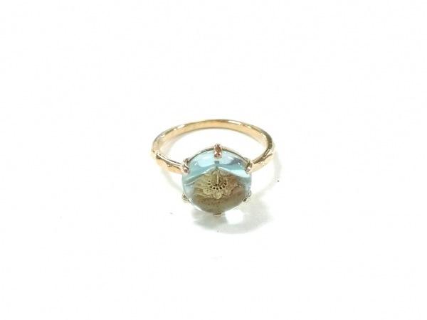 NOJESS(ノジェス) リング美品  シルバー×ガラス ゴールド×ライトブルー