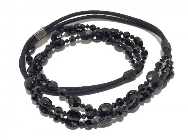 コレットマルーフ アクセサリー美品  化学繊維×ビーズ×金属素材 黒 ヘアゴム
