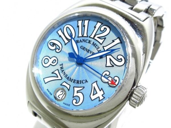 フランクミュラー 腕時計 トランスアメリカ 2000L レディース SS ブルー