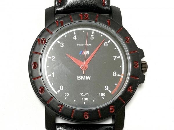 BMW(ビーエムダブリュ) 腕時計美品  - メンズ 革ベルト 黒