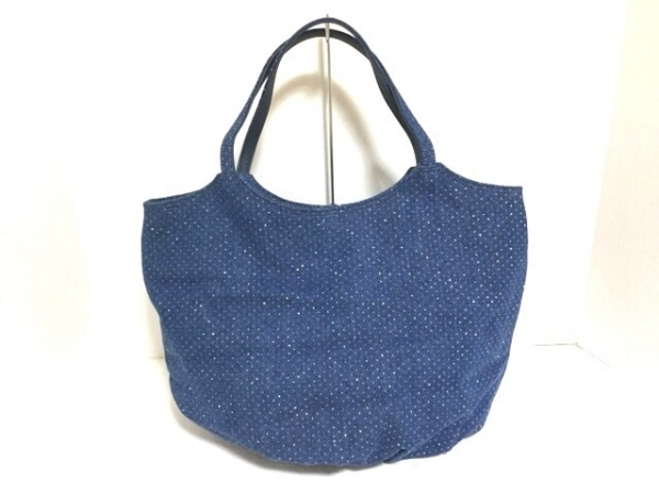 L'AURA(ラウラ.) トートバッグ美品  ブルー ドット柄/ラメ デニム