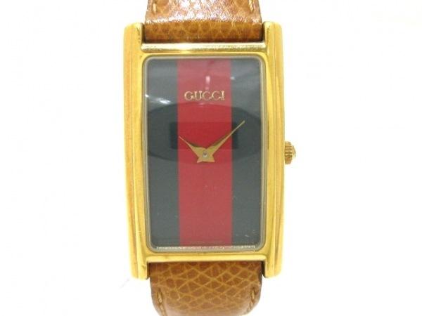 GUCCI(グッチ) 腕時計 シェリー 2600M メンズ 革ベルト ダークグリーン×レッド
