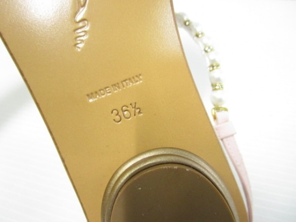 RENE CAOVILLA(レネカオヴィラ) サンダル 36 1/2 レディース美品  アイボリー×ピンク