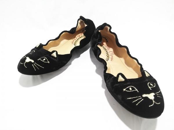 シャーロットオリンピア フラットシューズ レディース美品  キティ 黒×ゴールド
