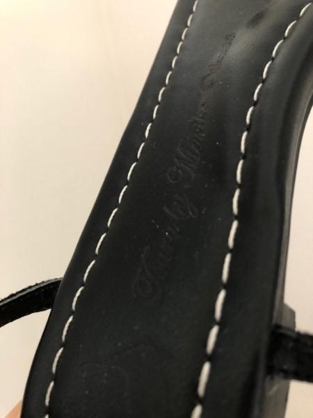 ツルバイマリコオイカワ サンダル 35 レディース 黒 麻×フェイクパール×レザー