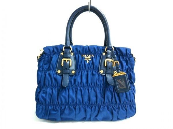 プラダ ハンドバッグ美品  ギャザーバッグ B1336H ブルー×ネイビー ナイロン×レザー