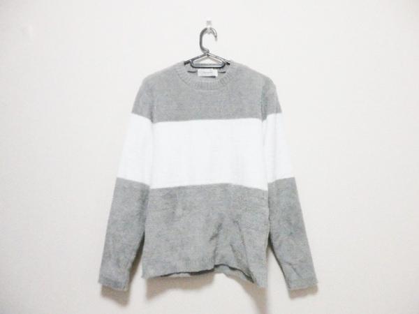Seagreen(シーグリーン) 長袖セーター サイズ2 M メンズ ライトグレー×白 ボーダー