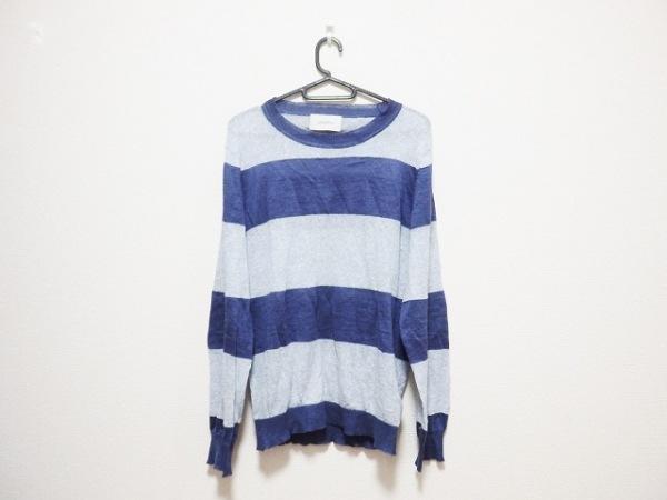 シーグリーン 長袖セーター サイズ2 M メンズ ネイビー×ライトグレー ボーダー