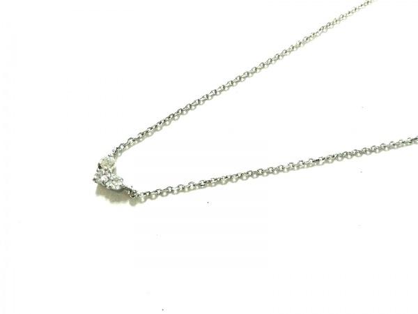 4℃(ヨンドシー) ネックレス美品  K10WG×ラインストーン クリア ハート
