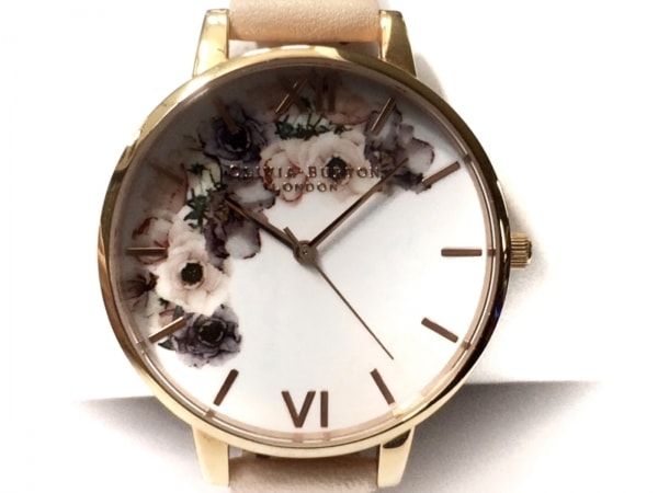 Olivia Burton(オリビアバートン) 腕時計 OB042 レディース 花柄 白×ピンク×マルチ