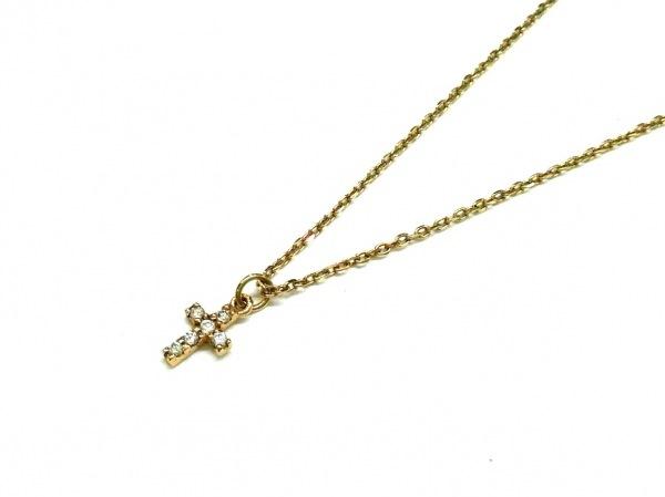 agete(アガット) ネックレス美品  K10YG×ダイヤモンド 6Pダイヤ/0.03カラット/クロス