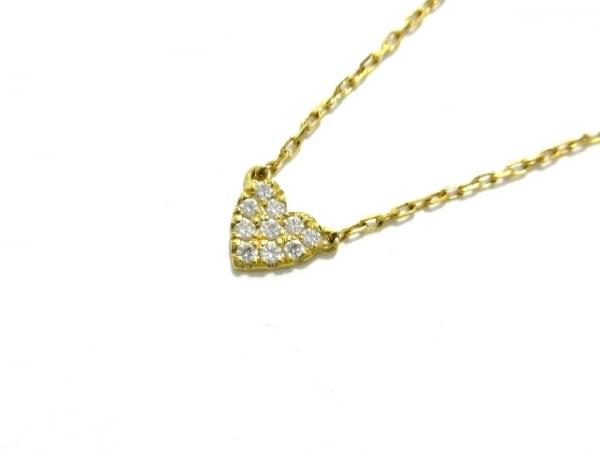 AHKAH(アーカー) ネックレス美品  K18YG×ダイヤモンド ダイヤ0.05カラット/ハート