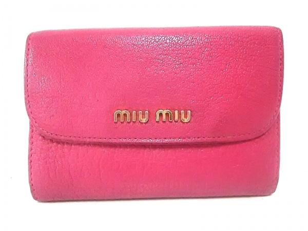 miumiu(ミュウミュウ) Wホック財布美品  - ピンク レザー