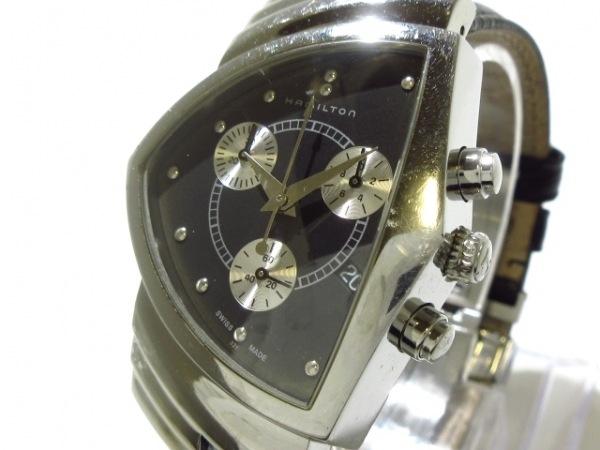 ハミルトン 腕時計 ベンチュラ H244121 ボーイズ クロノグラフ/型押し革ベルト 黒