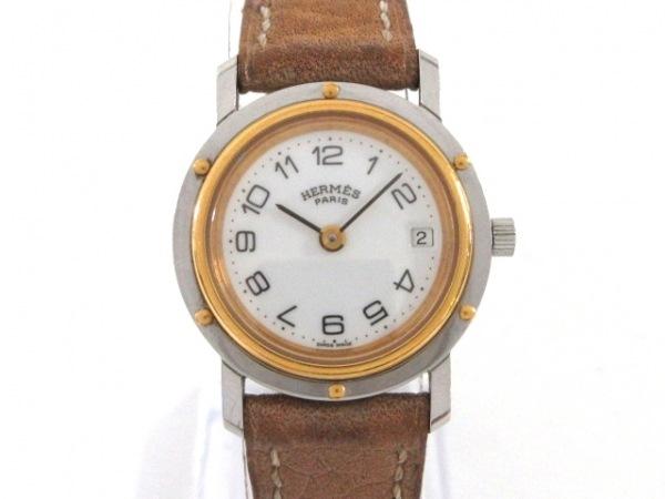 HERMES(エルメス) 腕時計 クリッパー - レディース 〇T刻印/革ベルト 白