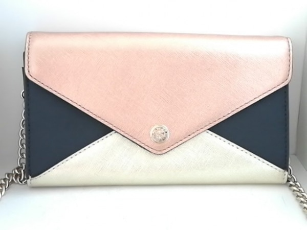 レベッカミンコフ 財布 ゴールド×黒×ライトブラウン ショルダーウォレット レザー