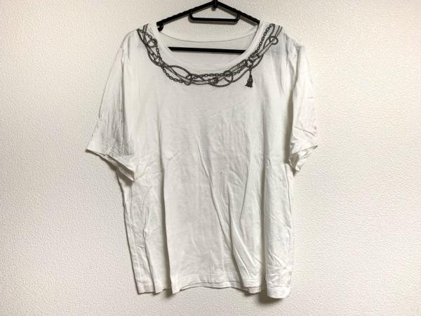 ロシャス 半袖カットソー サイズ13+ S レディース美品  白×ライトグレー×マルチ