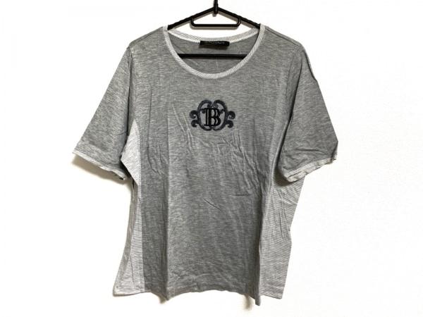 バルマン 半袖カットソー サイズ13+ S レディース美品  ライトグレー×アイボリー