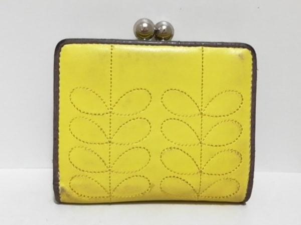 オーラカイリー 2つ折り財布 - - イエロー×ダークブラウン ステッチ/がま口 レザー