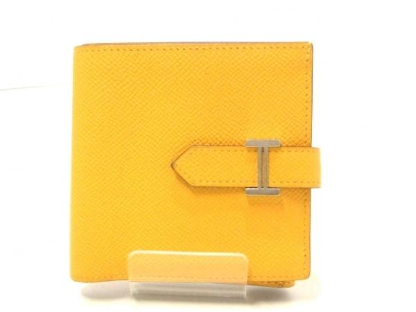 エルメス 2つ折り財布美品  ベアン イエロー 新型/シルバー金具 ヴォーエプソン