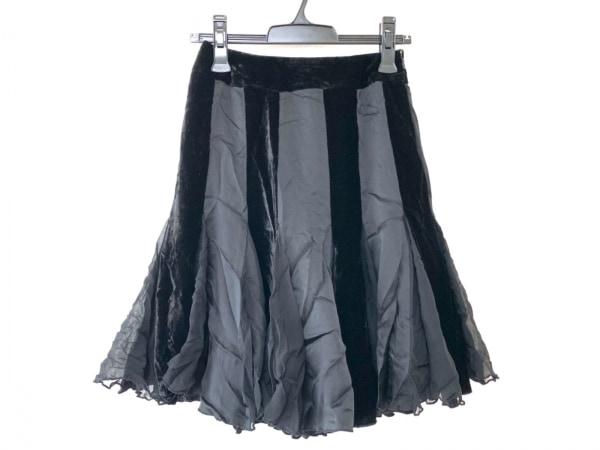 ドレスキャンプ スカート サイズ36 S レディース 黒 異素材切替/ベロア/シルク