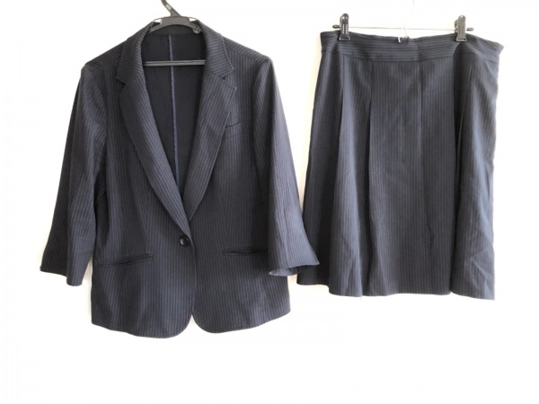 ru(アールユー) スカートスーツ サイズM3 レディース ダークネイビー×白 ストライプ