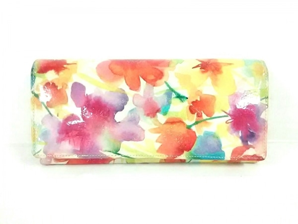 フルッティ ディ ボスコ 長財布美品  オレンジ×アイボリー×マルチ 花柄