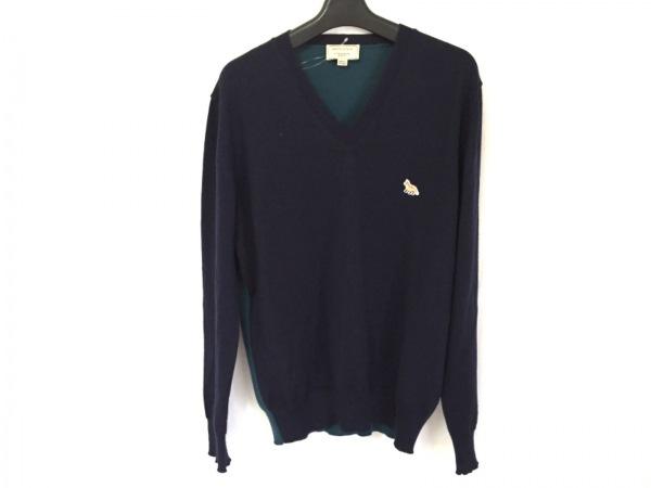 メゾンキツネ 長袖セーター サイズM メンズ ネイビー×ダークグリーン