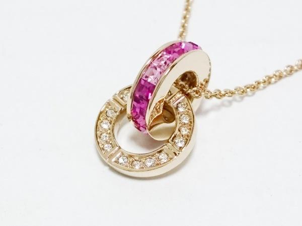 グロッセ ネックレス美品  金属素材×ラインストーン ゴールド×クリア×ピンク