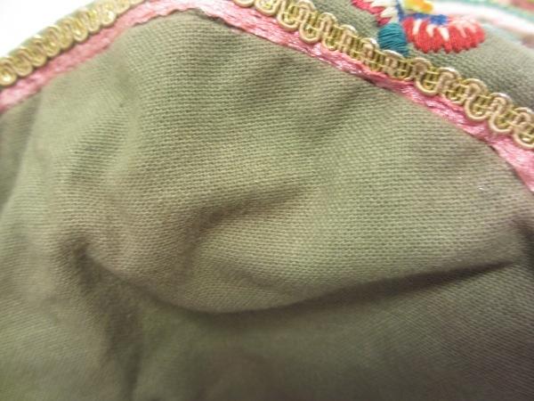 スターメラ ショルダーバッグ カーキ×ブルー×マルチ 刺繍/ビーズ コットン