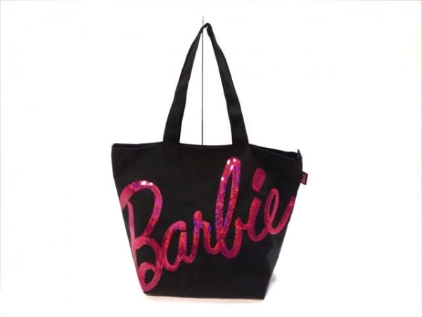 Barbie(バービー) ショルダーバッグ 黒×ピンク ナイロン×スパンコール