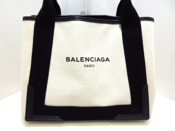 BALENCIAGA(バレンシアガ) トートバッグ美品  ネイビーカバS 339933 アイボリー×黒