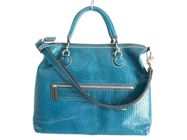 PELLE BORSA(ペレボルサ) ハンドバッグ美品  ブルーグリーン レザー
