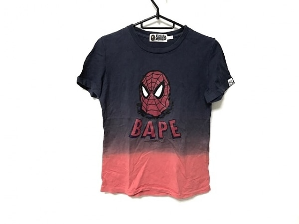 ア ベイシング エイプ 半袖Tシャツ サイズXS レディース ネイビー×レッド×マルチ